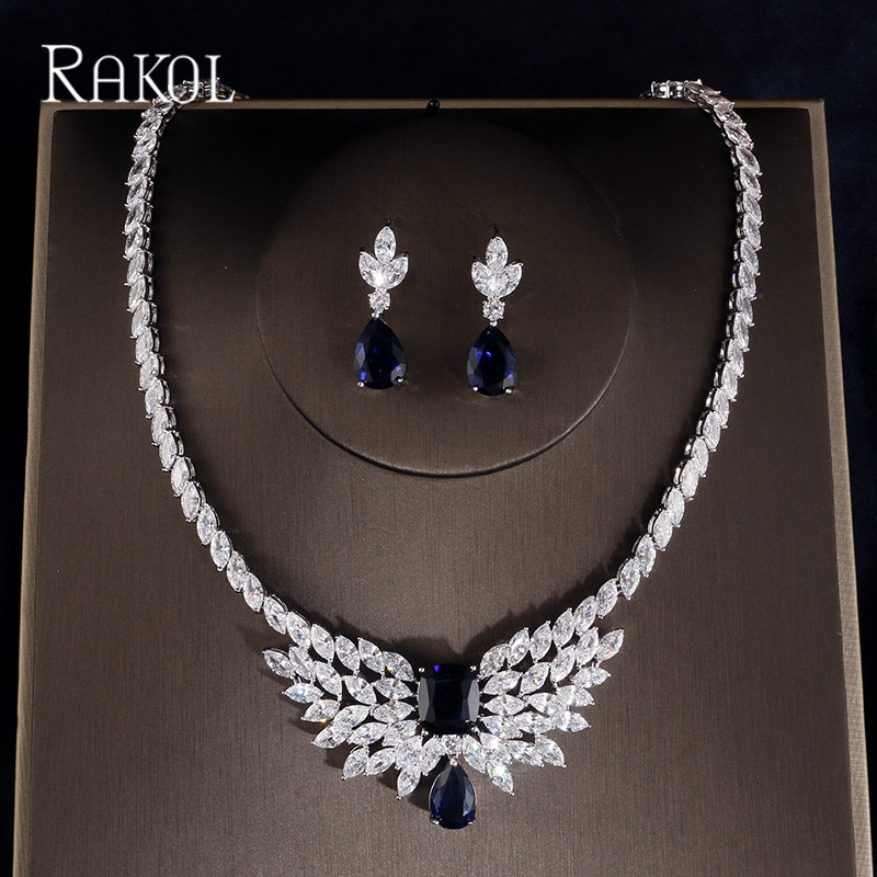 RAKOL Top Quality Square Cubic Zirconia Flower White Color Jewelry Set For Women Bridal Dress Accessories
