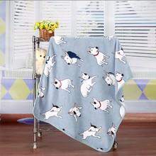 Cute Bull Terrier Winter Warm fleece dog pet cat Blanket for small big dog soft dog Bed house mat cushion car cover 100*70CM