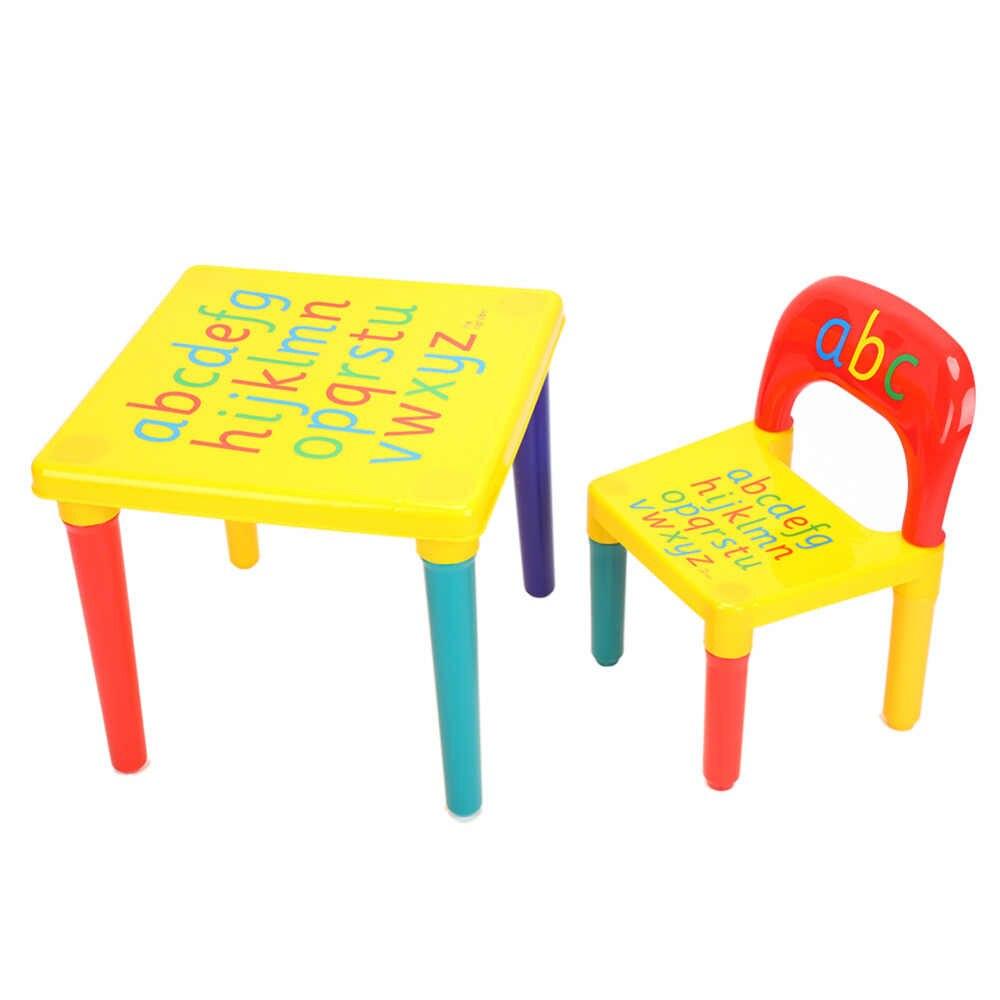Conjunto de Mesa e Cadeira de plástico Para O Miúdo/Crianças Conjuntos Dos Desenhos Animados Conjuntos de Mobiliário de crianças Cadeira de Jantar E Mesa de Estudo