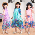 Girls beach tulle dress New Arrival 2017 big girl summer boho chiffon dresses teenage children long dresses clothing designer