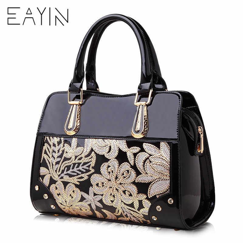EAYIN Luxury Designer Black Leather Tote Bag Handbags Sequin Flower Women  Famous Brand Lady s Lacquered Handbag f6c810f2b05f