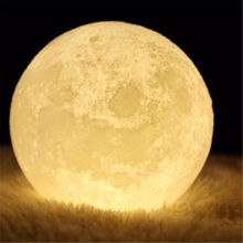 oobest Rechargeable 3D Print Moon Lamp Color Change Touch Switch Bedroom Lunar Night Light Romantic Gift Home Decoration