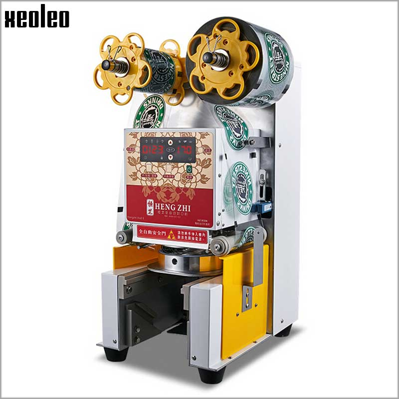 XEOLEO Commercial Full-Automatic Cup sealing machine Bubble tea machine suitable for 9.5cm cup Automatic cup sealer zonesun aperts full automatic small food vacuum packaging machine sealing machine for commercial smoke tea laminating machine