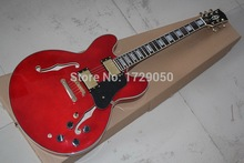 Chinese musical Instruments Factory custom 2015 new arrival red 335 JAZZ Semi Hollow electric guitar In Stock 218