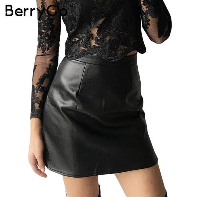 High Waisted Faux Leather Skirt - Dress Ala