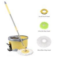 iKayaa 360 Rotating Spin Mop Bucket Set with Foot Self Wring Floor Mop+1 Microfiber Mop Head+Scrub Brush+Chenille Mop Head Home