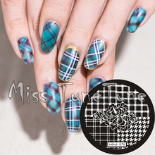 New Stamping Plate hehe75 Nail Art Template Flower Plaid Houndstooth Swallow Grid Elegant Stamping Transfer DIY