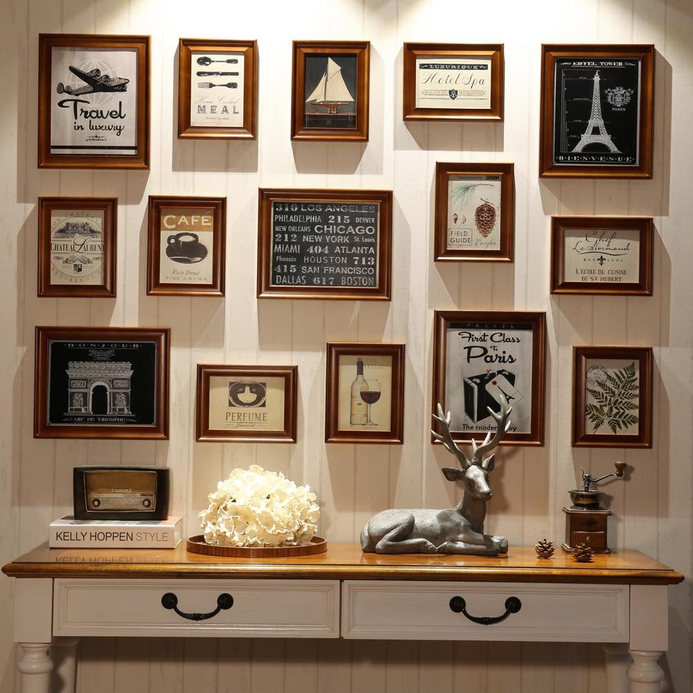 15 pcsset Wood Photo FrameVintage Style Photo Frames