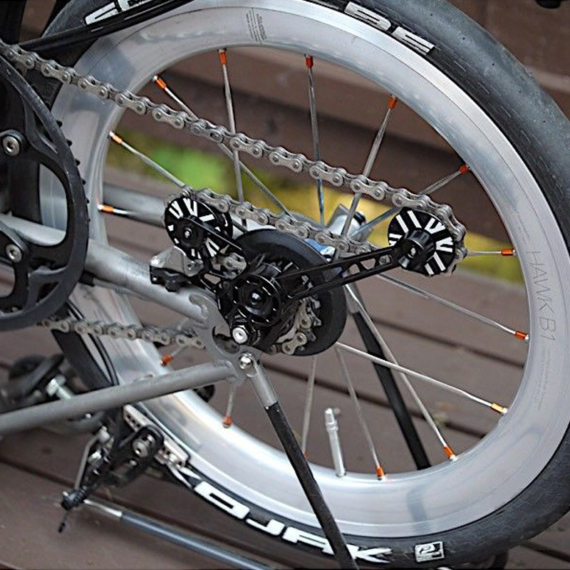 TWTOPSE Pro Bike Chain Tensioner Wheel For Brompton Bicycle Derailleur Silent Nylon Gear CNC Aluminum Alloy Frame 42.8g Parts brompton stickers