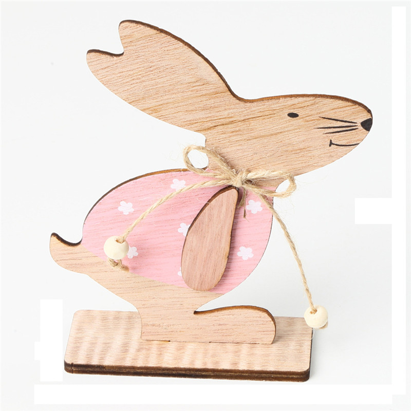 Kids Educational DIY Craft Toys Cute Wooden Easter Rabbit With Easter Egg Ribbon Stand Wood Toys For Baby Party Game Gift
