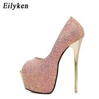 Eilyken New Women Pumps Bling Personality Sexy 16 cm High heel Temperament High heeled shoes Peep Toe Pumps size 34 40