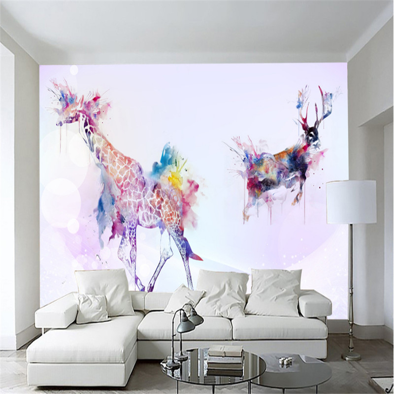 custom  modern 3d photo non-woven mural wallpaper simple watercolor oil painting giraffe tv sofa background wall home decor custom 3d mural wallpaper street art graffiti cartoon hand painted brick wall background decor wall painting non woven wallpaper