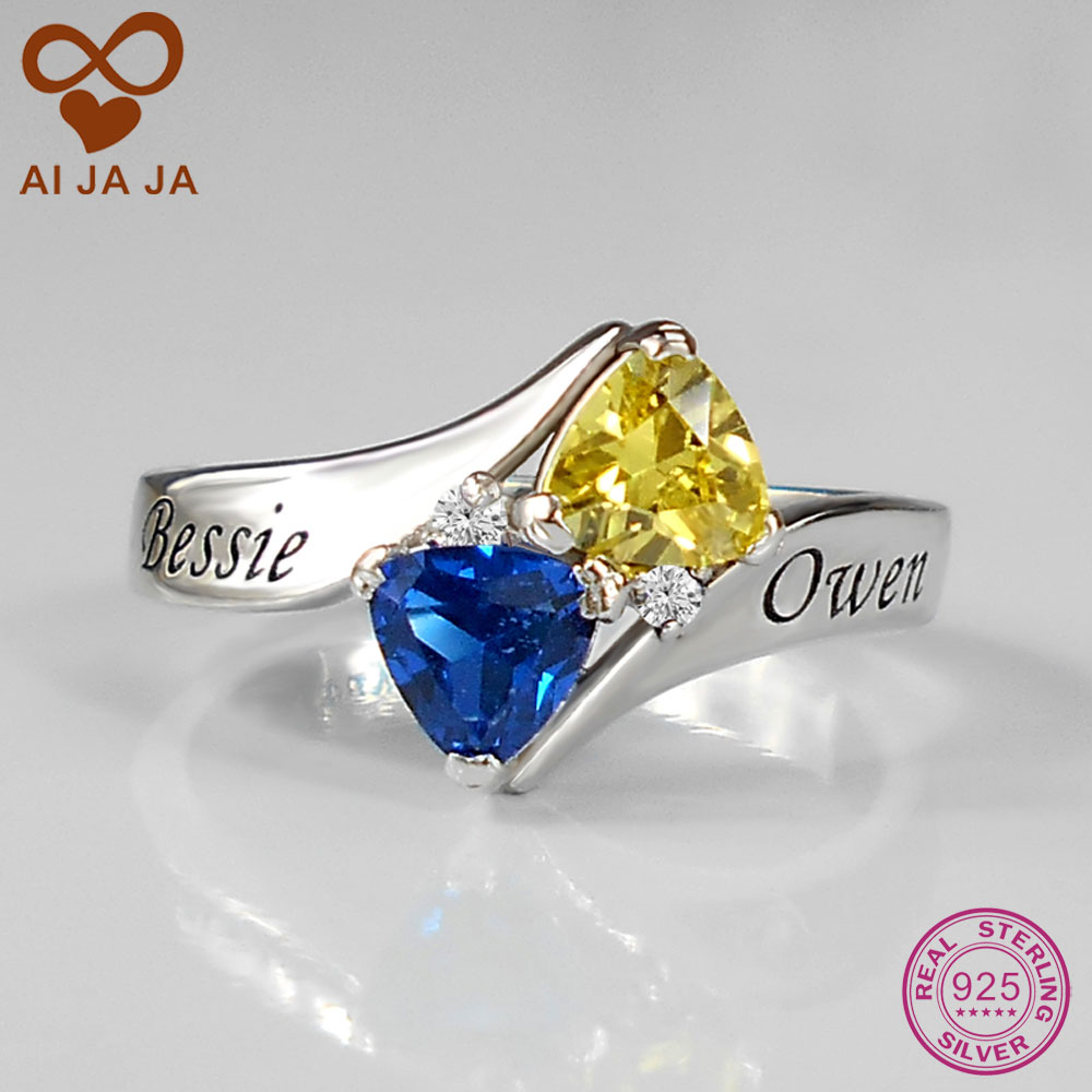 Aijaja 925 Sterling Silver Personalized Love Promise Ring, Free Engraving &  Diy Stones Unique Wedding Rings With Gift Box