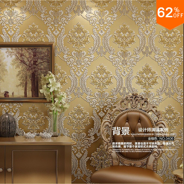 gold Euro Hotel Wall Papers Wall Golden Floral carving velvet Damask luxury wallpaper 3d Blue Wall 3d wallpaper for Living Room