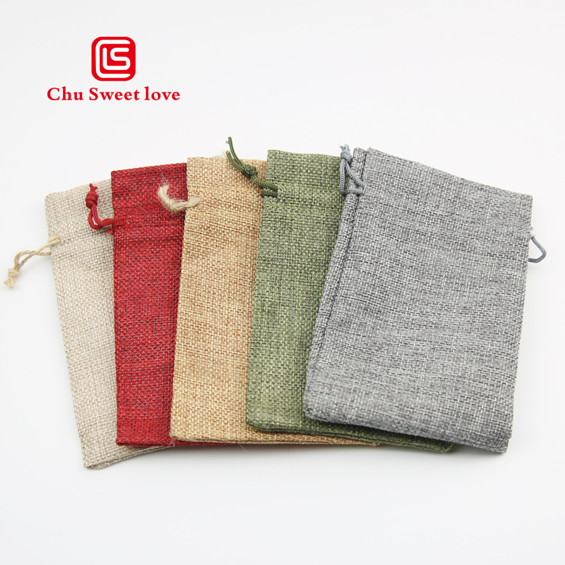 50pcs Imitation Linen Beam Pocket Linen Bag Christmas Gift Bag 10 * 15cm Grain Bag Drawstring Jewelry Bag