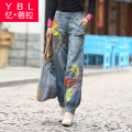 Free Shipping 2017 New Fashion National Trend Loose Plus Size 25-32 Jeans Embroidered Trousers For Women Painted Ladies Pants