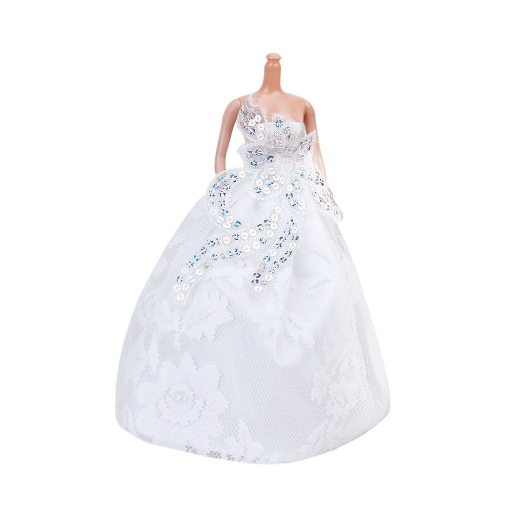 Strapless Marriage ceremony Robe  Full Costume White for Barbie Doll Nice Youngsters Toy