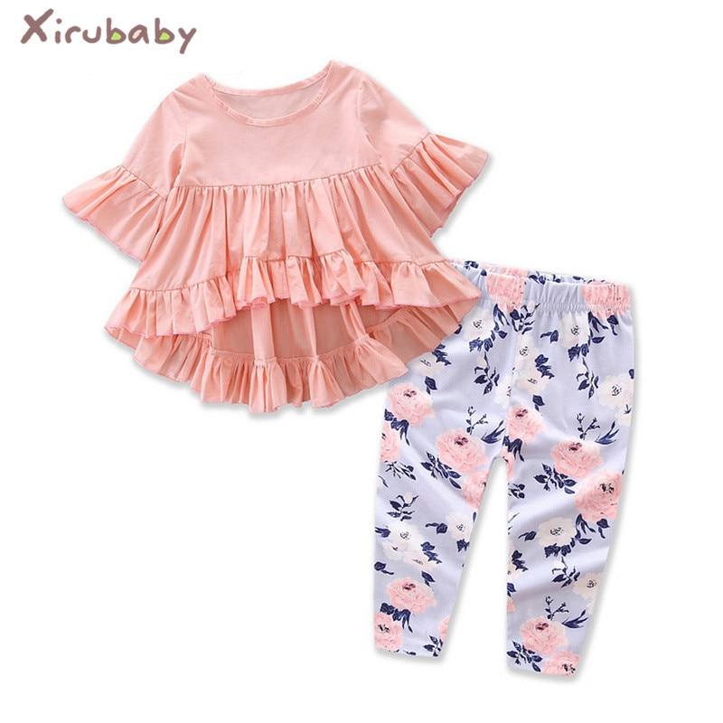 Xirubaby Baby Clothing Sets Newborn Baby Girls 2PCS Outfits Set Pink Blouse Ruffle Hem Top ...