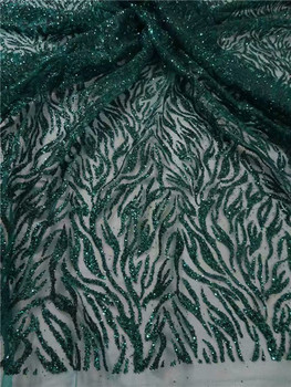 Latest pattern dark green French tulle lace fabric nice party net lace fabric with glitter UN93(5yards/lot)