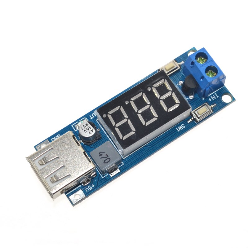 DC DC Step Down Module Two wire Voltmeter 5 V USB Charger ...
