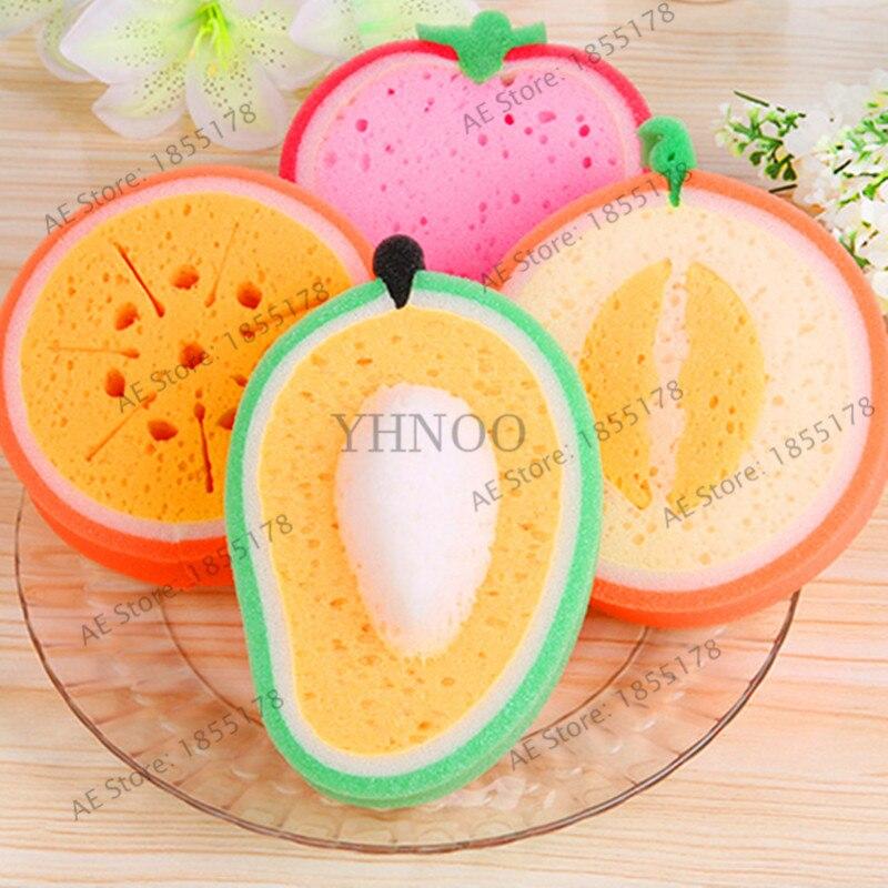 1Pcs Mixed color Fruit Bath cotton bath Sponges Cute fruit Bath Ball Brushes Scrubbers bathroom kitchen supply