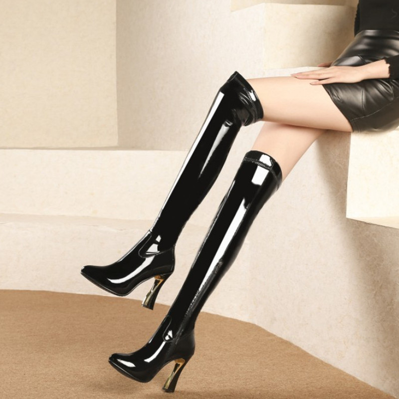 Brand Patent Leather Boots Women High Heels Sexy Thigh High Boots Winter Shoes Woman Pumps Fashion Over The Knee Boots оправа miu miu miu miu mi007dwhag36
