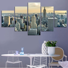 ФОТО canvas hd printed modular poster home wall art pictures frame 5 pieces new york city tall buildings painting living room decor