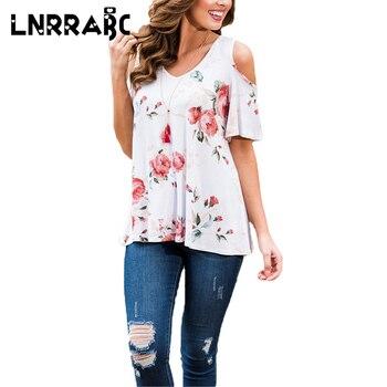 Sale Hot Flower Print White Green V Neck Off Shoulder Short Sleeve Women Summer Blouse Ladies Top Shirt Trendy Clothing