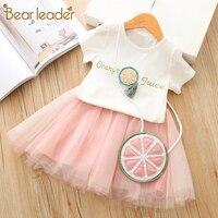 Bear leader/комплект с платьем для девочек, летняя детская одежда для девочек короткая футболка с фруктовым принтом + платье с бантом комплекты о...