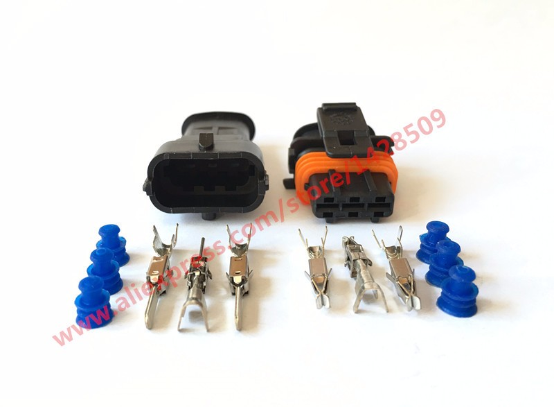 20 Sets 3 Pin Female Male Fuel Pressure Wire Connector Electrical Connector Sealed Diesel Injection Plug