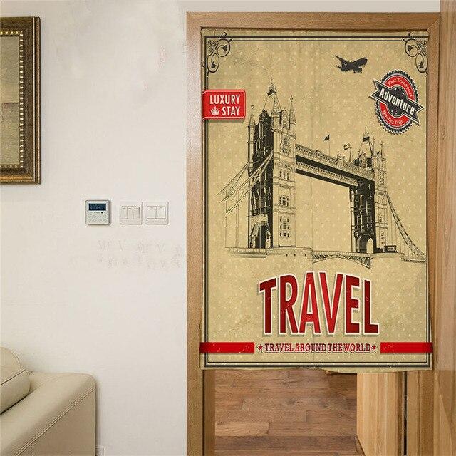 Retro Londen Deur Gordijn Korte Keuken Gordijnen Digitale Gedrukt ...