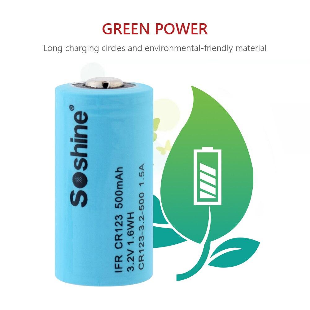 מחשבי וברזי השקיה 3.2V 500mAh 16,340 סוללות נטענות LiFePO4 IFR CR123 סוללה עבור לייזר עט פנס נטענת 16,340 CR123A סוללה (5)