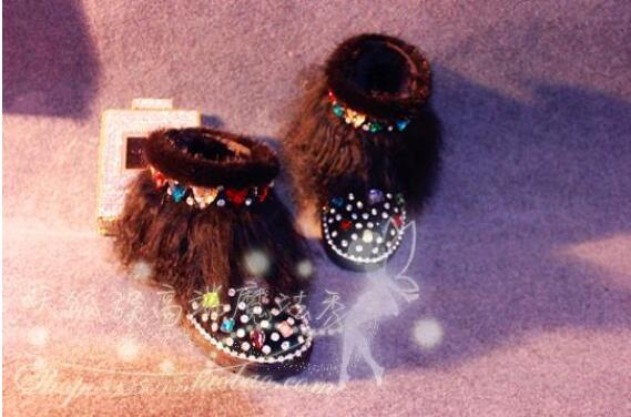 Magic show originele luxe mink fur glas aquarel boor lederen laarzen strand wol snowboots - 6