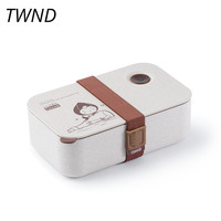 Japan style bento box student office lunch box portable microwaveble chaff husk fiber tableware with bags soup box spoons 17.3