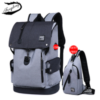 Fengdong Brand Men USB Backpack Set 2PCS Chest Bag Leisure Male School Bag High School College