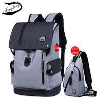 Fengdong Brand Men USB Backpack Set 2PCS Chest Bag Leisure Male School Bag High School College