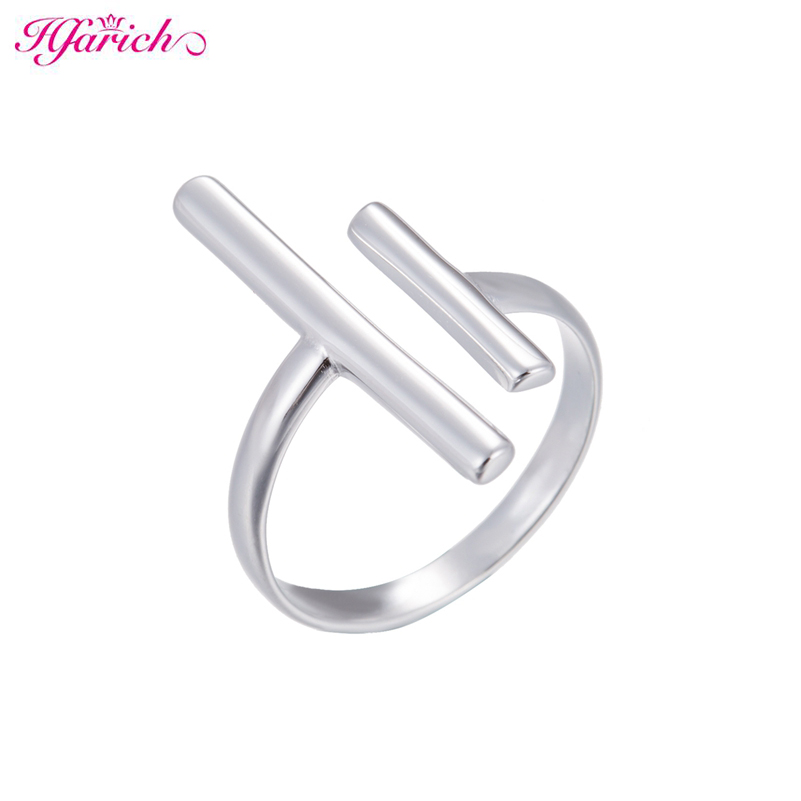 Hfarich Silver Color Double Bar Ring per le donne Regolabile Geometric Wedding Bands Jewelry Gifts Regali di Capodanno