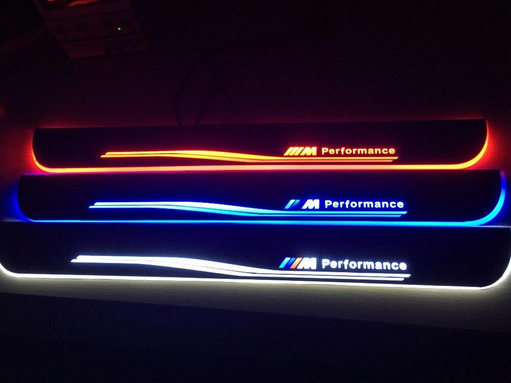 Qirun acrilico mobile a led del portello dello scuff benvenuto luce pathway lampada davanzale del portello piastra pannelli interni delle sovrapposizioni per BMW E90 3 serie 2006-2011