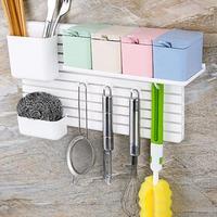 קיר דבק DIY ספוג פלסטיק מדף מדף סבון קלה Storgae מתלה סכין מטבח תשמיש כלי שולחן תיבה מחזיק הוק קולב דלת