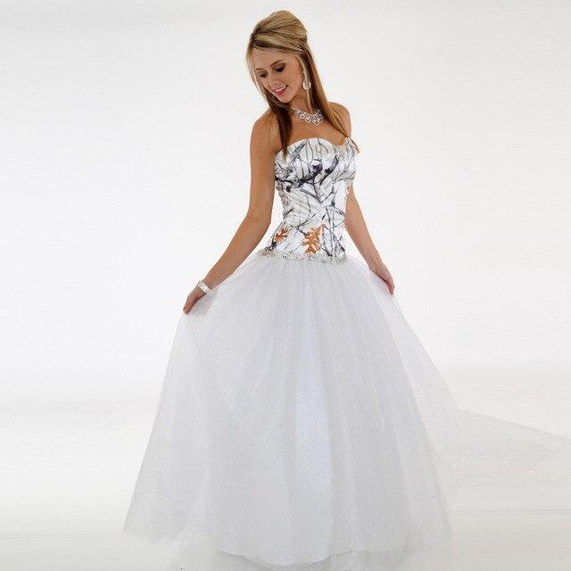 White Camo Wedding Dresses Crystals Sleeveless Vestido De Noiva Off ...