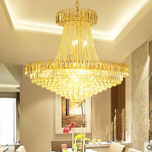 Atmospheric gold crystal chandeliers creative led dining chandeliers living room lamps modern bedroom bar lighting fixture led