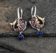 ФОТО fashion jewelry cloisonne hand made 925 solid silver natural lapis stone woman precious stone cute romantic dangle earrings