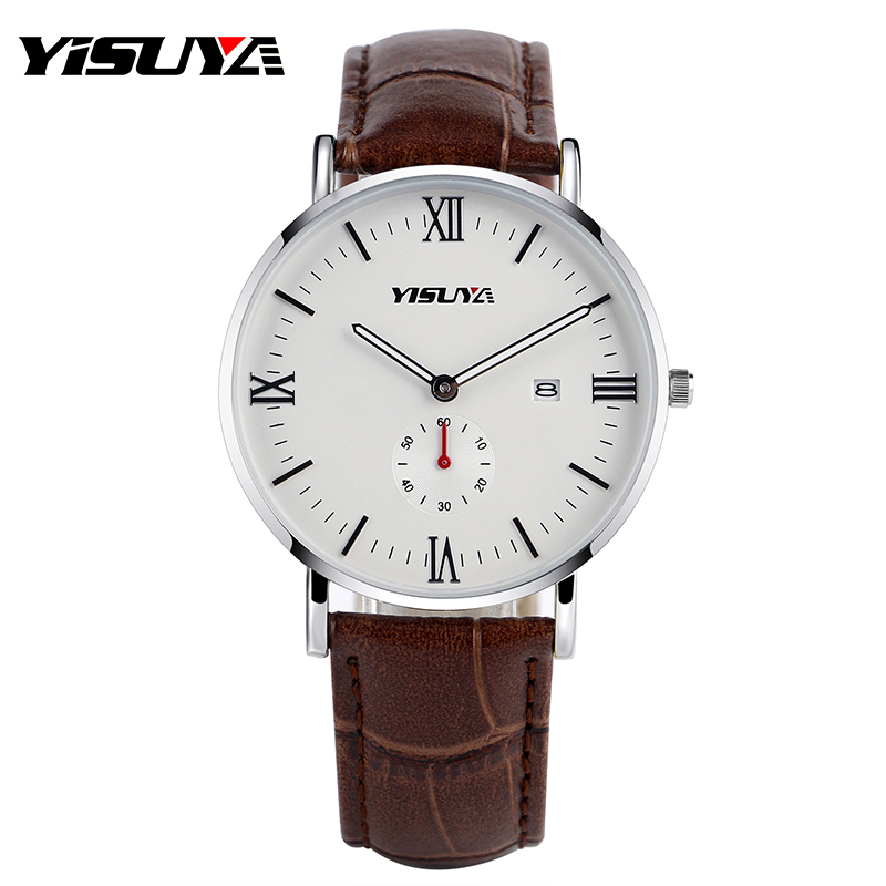 YISUYA Cool Business Sport Men Date-Day Wrist Watch Fashion Brown Genuine Leather Band Strap Japan Quartz Movement Aviator Gift genuine curren brand design leather military men cool fashion clock sport male gift wrist quartz business water resistant watch