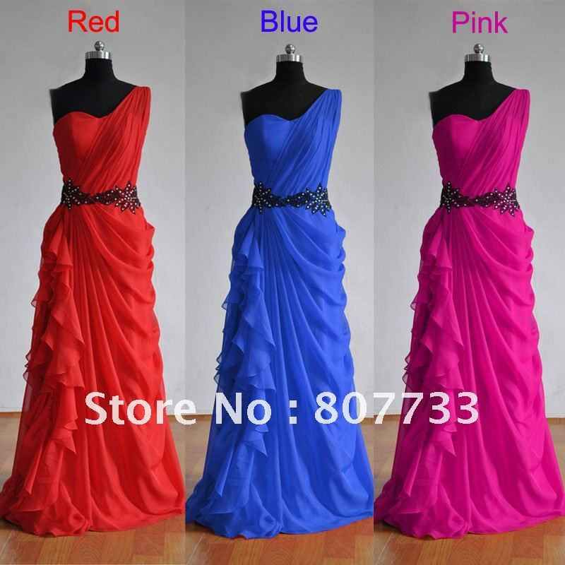 Real sample RE057 red/blue/pink chiffon long one shoulder cheap prom ...
