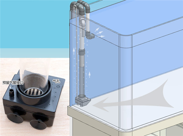 New model No drill hole non perforated sump bottom filter no need hole siphon overflow for
