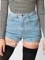 Горячая темным бельем с высокой талией жан манжеты джинсовые шорты yy424
