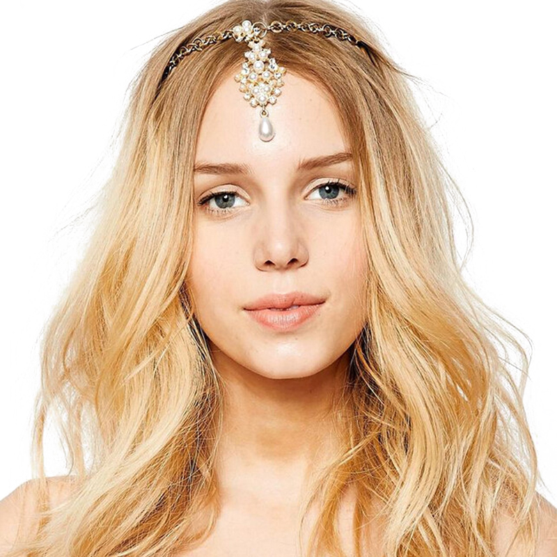 Fashion Gold Color Charm Forehead Wedding Bridal Crystal Pearl Headpiece Hairpins Indian Hair Accessories Fine Hair jewelry