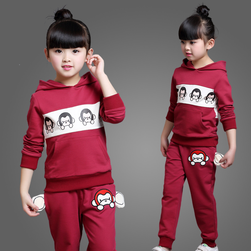 kids girl childing fashion spring set sweatshirt cartoon little monkey girl clothes  spring&autumn twinset child sports set 2pcs 2014small little girl homemade parent child clothes for mother child bugs bunny cartoon one piece dress baby sweatshirt