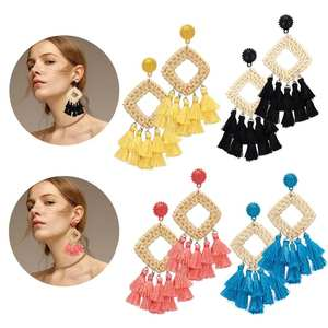 RINHOO Vintage Geometric Square Bamboo Rattan Hand-Woven Tassel Earrings for Women Bohemian Fringe Dangle Drop Earring Jewelry
