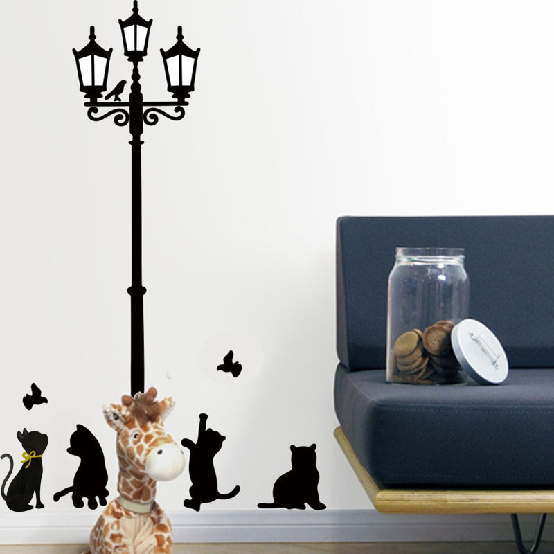 cats farola luces pegatinas de pared tatuajes de pared extrable art vinyl decor extrable fcil pared decoracin lunares decora